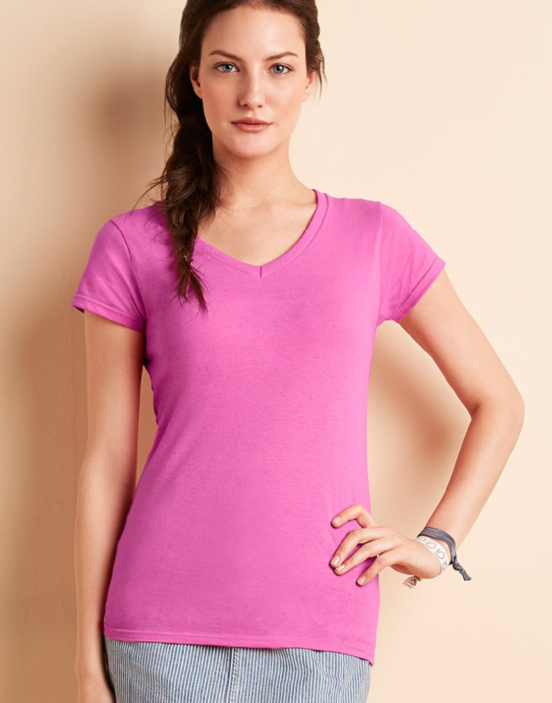 Ladies V neck T shirt