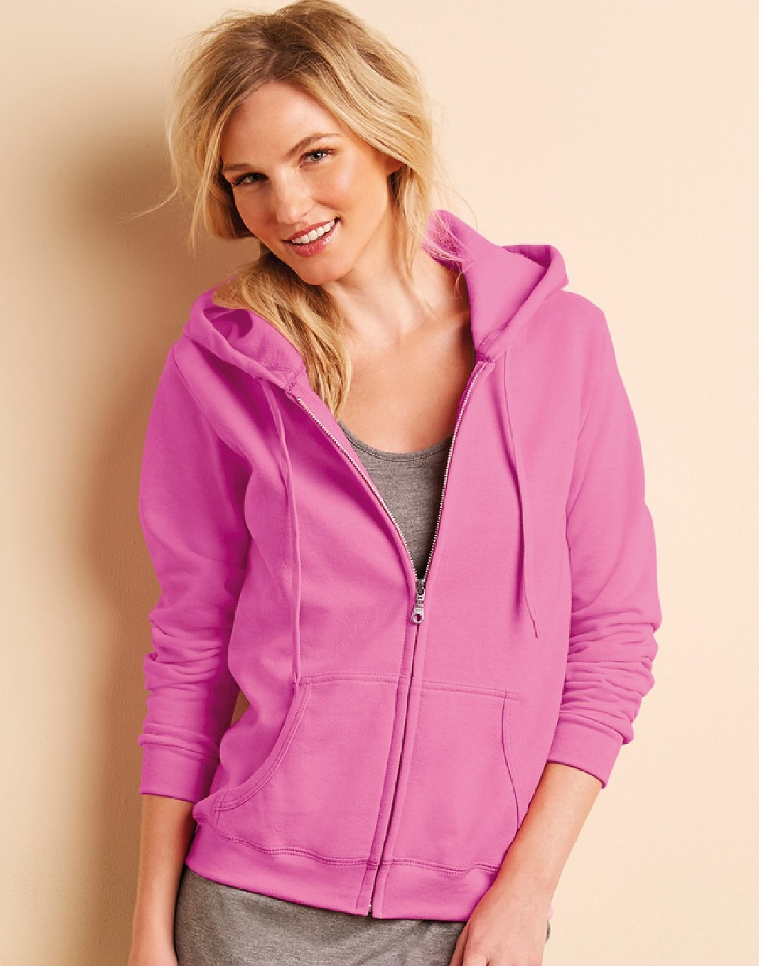 Ladies Zipped Hoodie. Fruit of the Loom